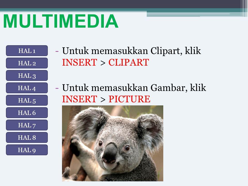 MULTIMEDIA -Untuk memasukkan Clipart, klik INSERT > CLIPART -Untuk memasukkan Gambar, klik INSERT > PICTURE HAL 1 HAL 2 HAL 3 HAL 8 HAL 7 HAL 6 HAL 5