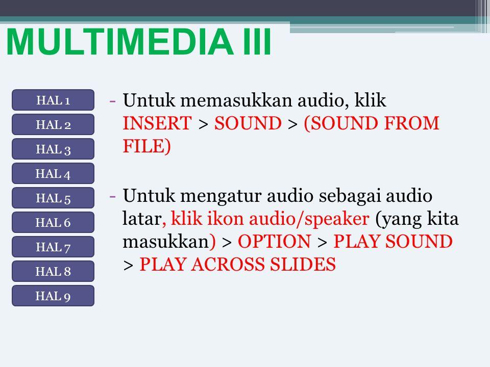 MULTIMEDIA III -Untuk memasukkan audio, klik INSERT > SOUND > (SOUND FROM FILE) -Untuk mengatur audio sebagai audio latar, klik ikon audio/speaker (ya