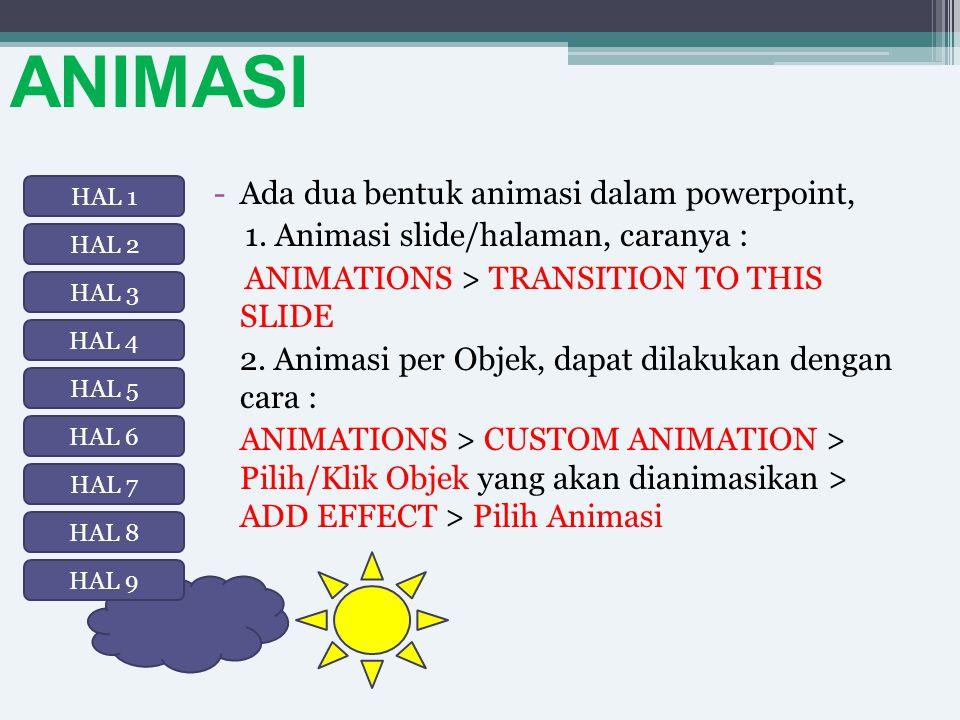 ANIMASI -Ada dua bentuk animasi dalam powerpoint, 1. Animasi slide/halaman, caranya : ANIMATIONS > TRANSITION TO THIS SLIDE 2. Animasi per Objek, dapa