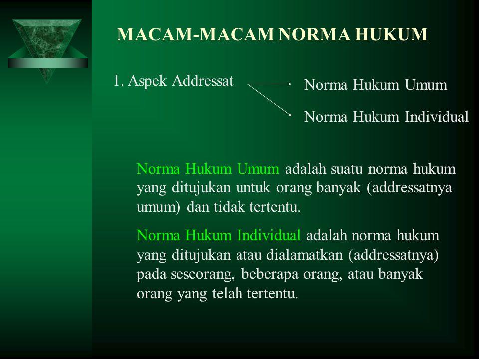 MACAM-MACAM NORMA HUKUM 1. Aspek Addressat Norma Hukum Umum Norma Hukum Individual Norma Hukum Umum adalah suatu norma hukum yang ditujukan untuk oran