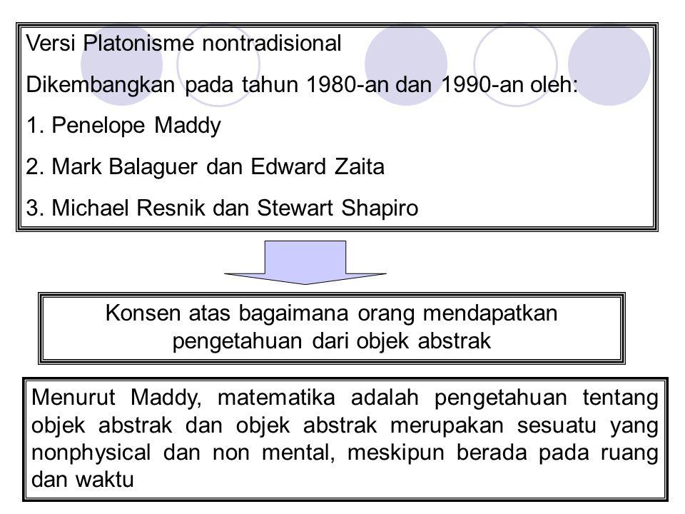Versi Platonisme nontradisional Dikembangkan pada tahun 1980-an dan 1990-an oleh: 1.Penelope Maddy 2.Mark Balaguer dan Edward Zaita 3.Michael Resnik d
