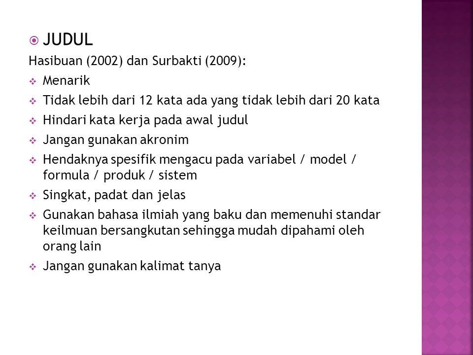  JUDUL Hasibuan (2002) dan Surbakti (2009):  Menarik  Tidak lebih dari 12 kata ada yang tidak lebih dari 20 kata  Hindari kata kerja pada awal jud