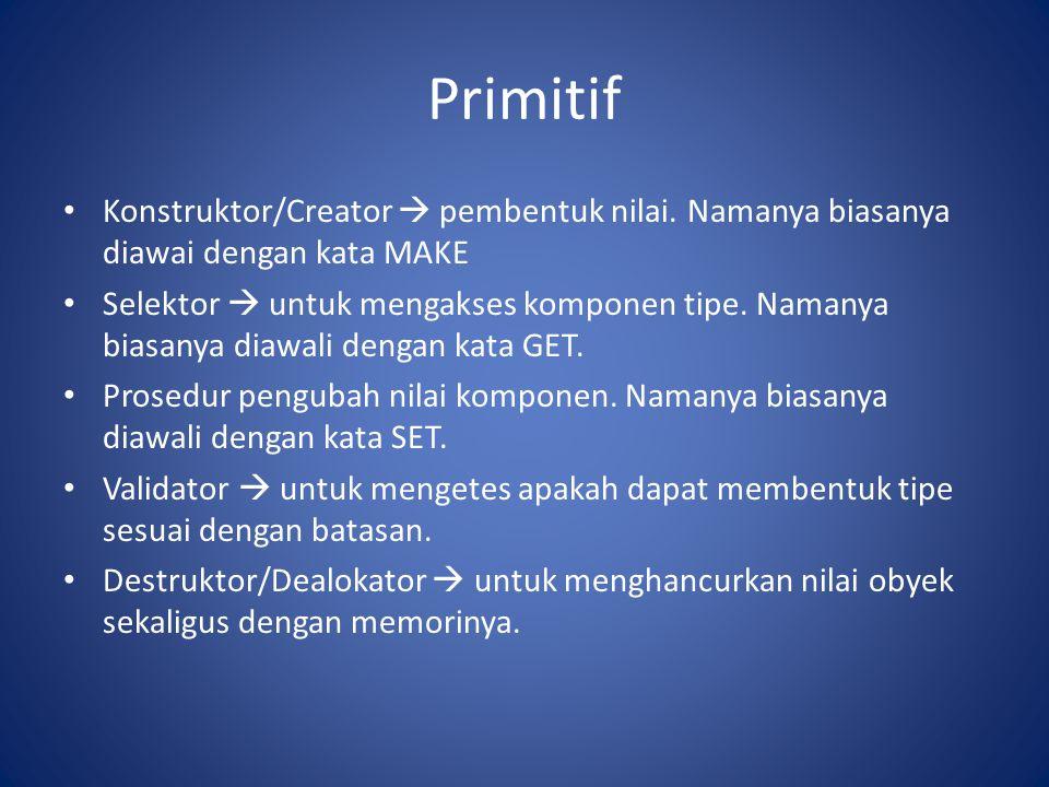 Primitif Konstruktor/Creator  pembentuk nilai.
