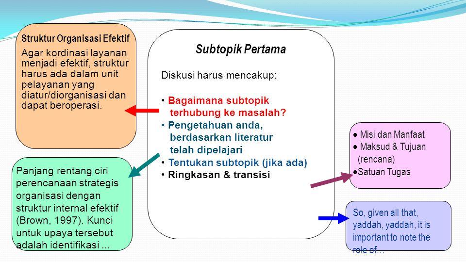 Subtopik Pertama Diskusi harus mencakup: Bagaimana subtopik terhubung ke masalah? Pengetahuan anda, berdasarkan literatur telah dipelajari Tentukan su