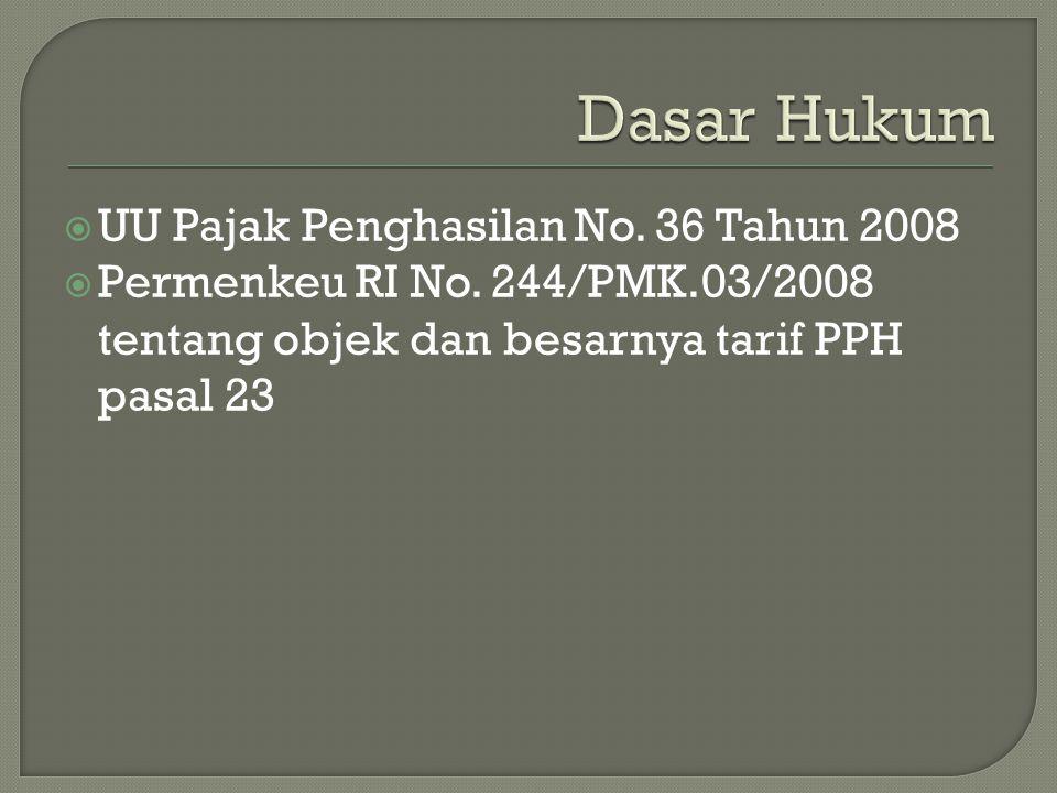  UU Pajak Penghasilan No. 36 Tahun 2008  Permenkeu RI No. 244/PMK.03/2008 tentang objek dan besarnya tarif PPH pasal 23