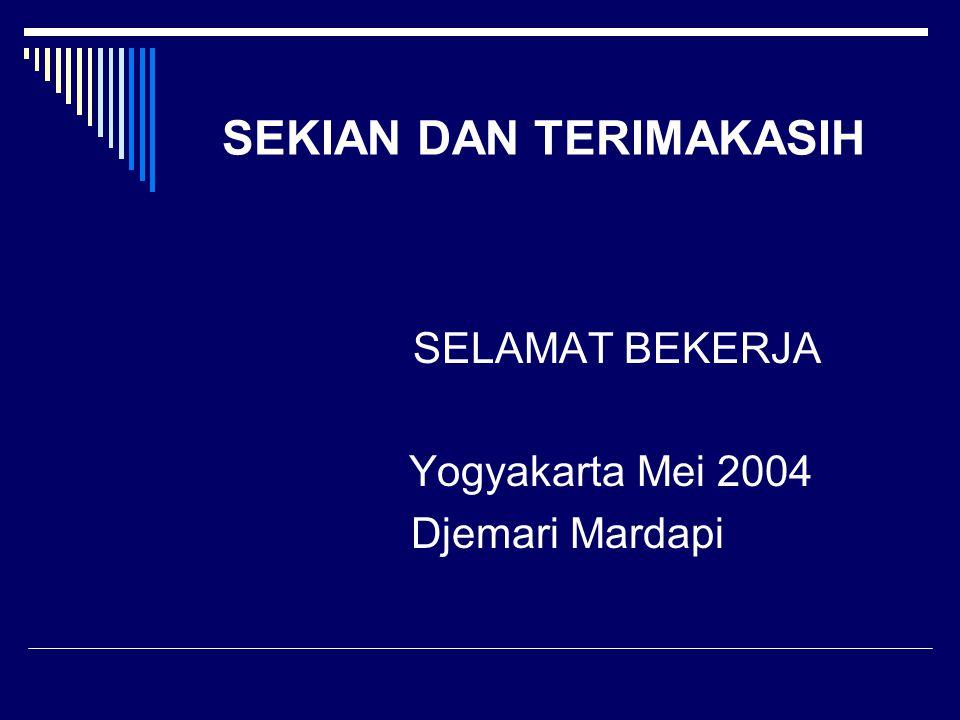 SEKIAN DAN TERIMAKASIH SELAMAT BEKERJA Yogyakarta Mei 2004 Djemari Mardapi