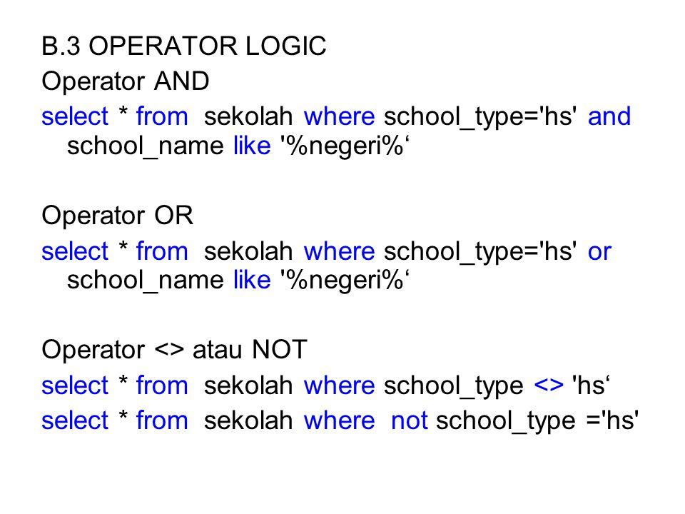C. Pengelompokan  Group select theme,school_name from sekolah group by theme,school_name