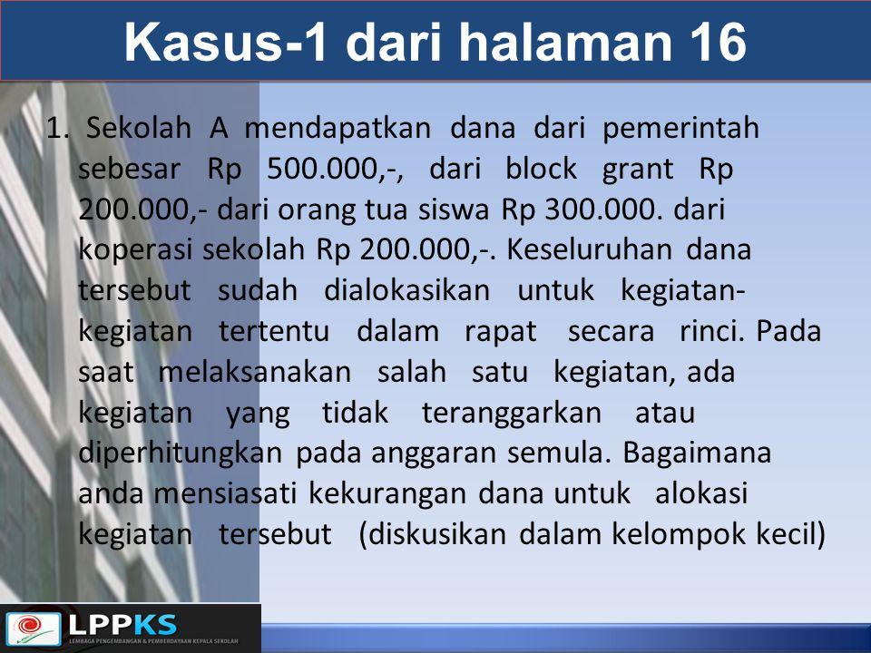 Kasus-1 dari halaman 16 1. Sekolah A mendapatkan dana dari pemerintah sebesar Rp 500.000,-, dari block grant Rp 200.000,- dari orang tua siswa Rp 300.