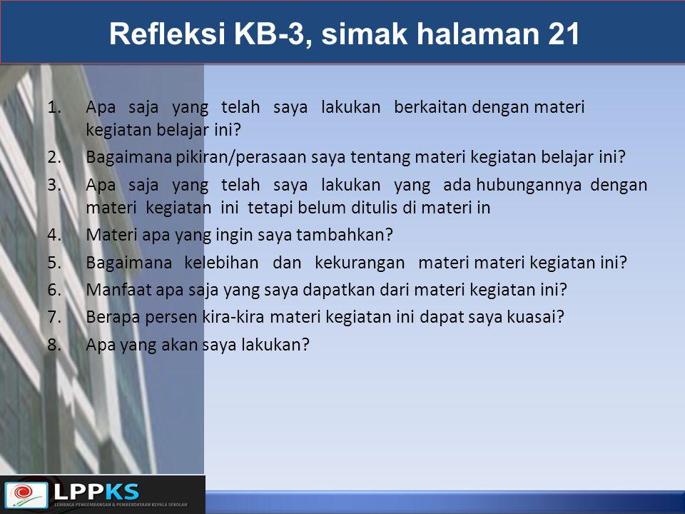 Refleksi KB-3, simak halaman 21 1.Apa saja yang telah saya lakukan berkaitan dengan materi kegiatan belajar ini? 2.Bagaimana pikiran/perasaan saya ten