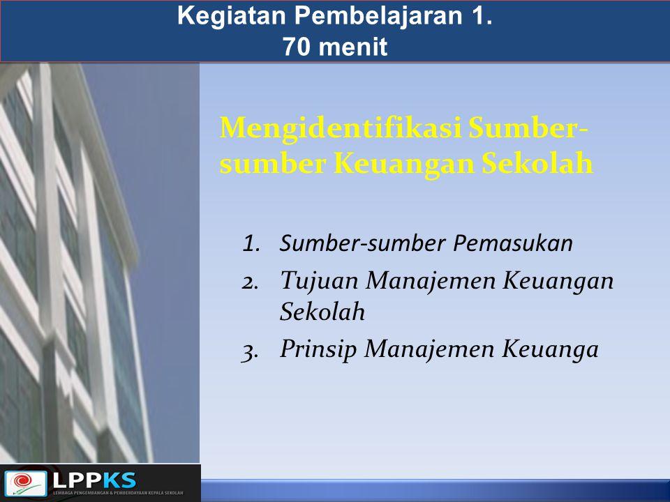 Kegiatan Pembelajaran 1. 70 menit 1.Sumber-sumber Pemasukan 2.Tujuan Manajemen Keuangan Sekolah 3.Prinsip Manajemen Keuanga Mengidentifikasi Sumber- s