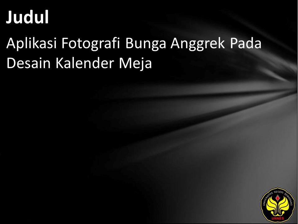 Judul Aplikasi Fotografi Bunga Anggrek Pada Desain Kalender Meja