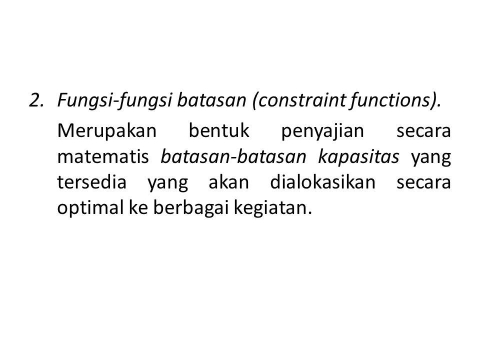 2.Funsi-fungsi batasan yang dapat dikelompokkan menjadi 2 macam yaitu : a.