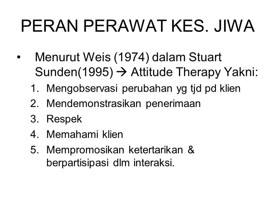 PERAN PERAWAT KES. JIWA Menurut Weis (1974) dalam Stuart Sunden(1995)  Attitude Therapy Yakni: 1.Mengobservasi perubahan yg tjd pd klien 2.Mendemonst