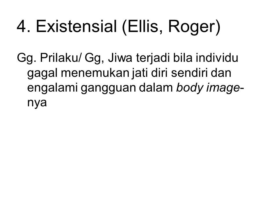 4. Existensial (Ellis, Roger) Gg. Prilaku/ Gg, Jiwa terjadi bila individu gagal menemukan jati diri sendiri dan engalami gangguan dalam body image- ny