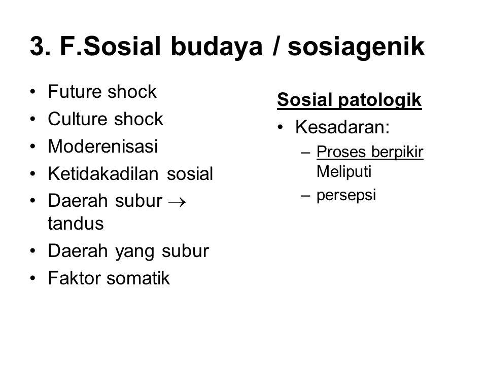 3. F.Sosial budaya / sosiagenik Future shock Culture shock Moderenisasi Ketidakadilan sosial Daerah subur  tandus Daerah yang subur Faktor somatik So