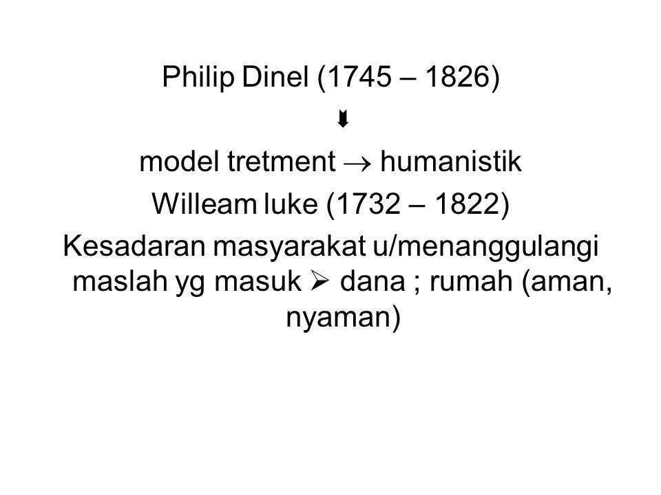 Philip Dinel (1745 – 1826)  model tretment  humanistik Willeam luke (1732 – 1822) Kesadaran masyarakat u/menanggulangi maslah yg masuk  dana ; ruma