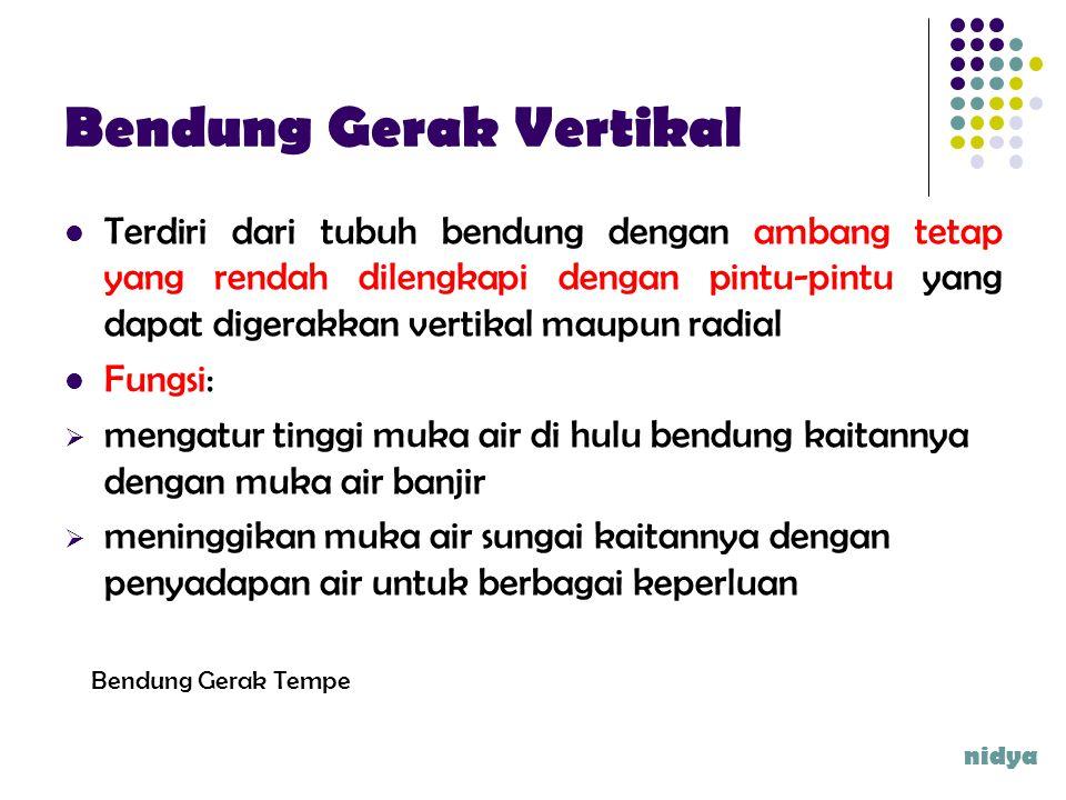 Bendung Gerak Vertikal Terdiri dari tubuh bendung dengan ambang tetap yang rendah dilengkapi dengan pintu-pintu yang dapat digerakkan vertikal maupun