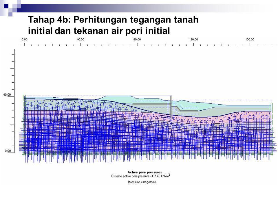 Tahap 4b: Perhitungan tegangan tanah initial dan tekanan air pori initial Tekanan air pori initial