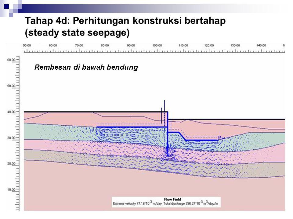 Tahap 4d: Perhitungan konstruksi bertahap (steady state seepage) Rembesan di bawah bendung