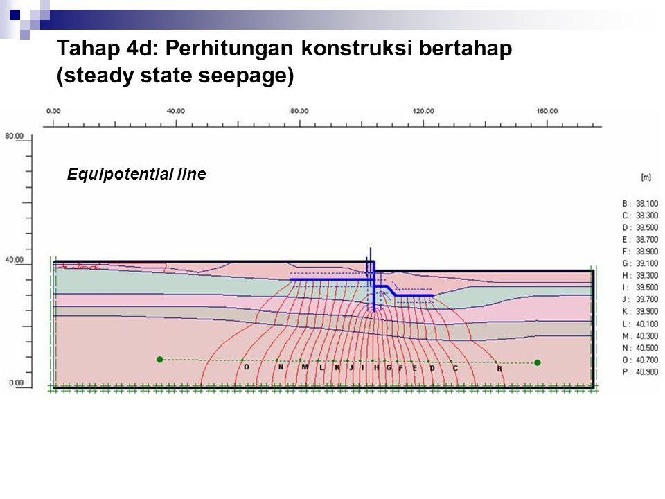 Tahap 4d: Perhitungan konstruksi bertahap (steady state seepage) Equipotential line
