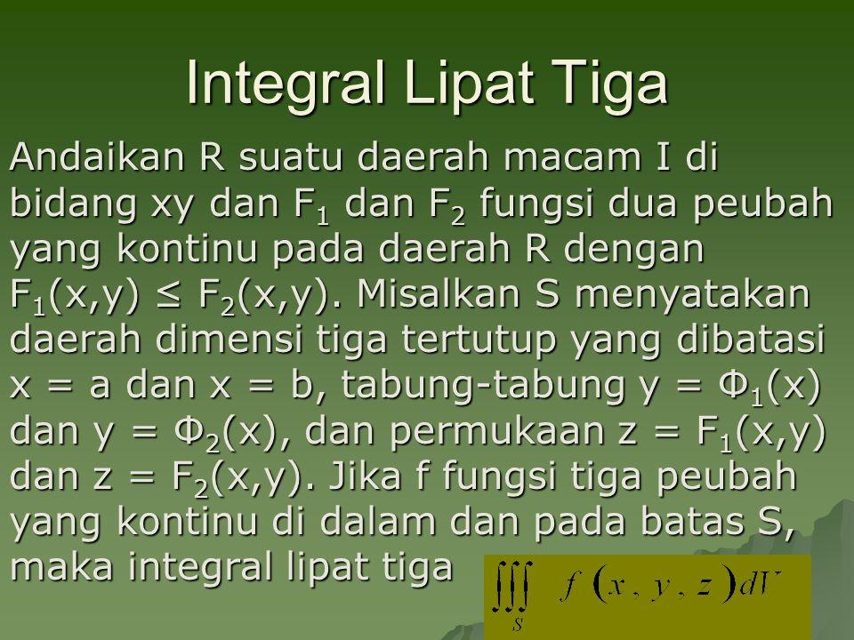 Integral Lipat Tiga Andaikan R suatu daerah macam I di bidang xy dan F 1 dan F 2 fungsi dua peubah yang kontinu pada daerah R dengan F 1 (x,y) ≤ F 2 (x,y).