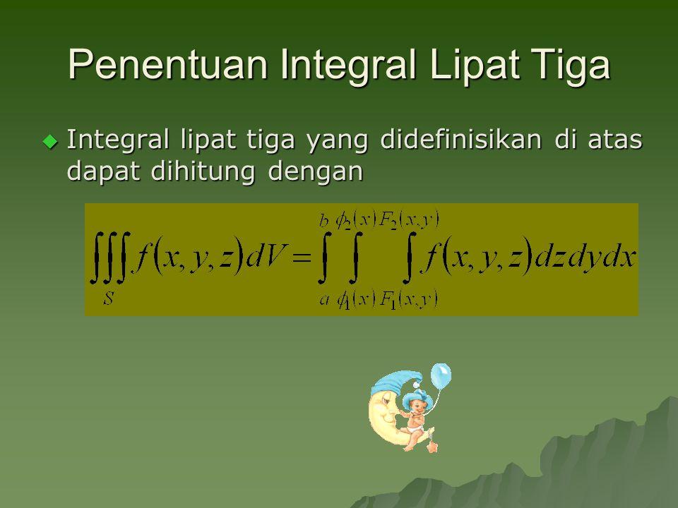 Penentuan Integral Lipat Tiga  Integral lipat tiga yang didefinisikan di atas dapat dihitung dengan