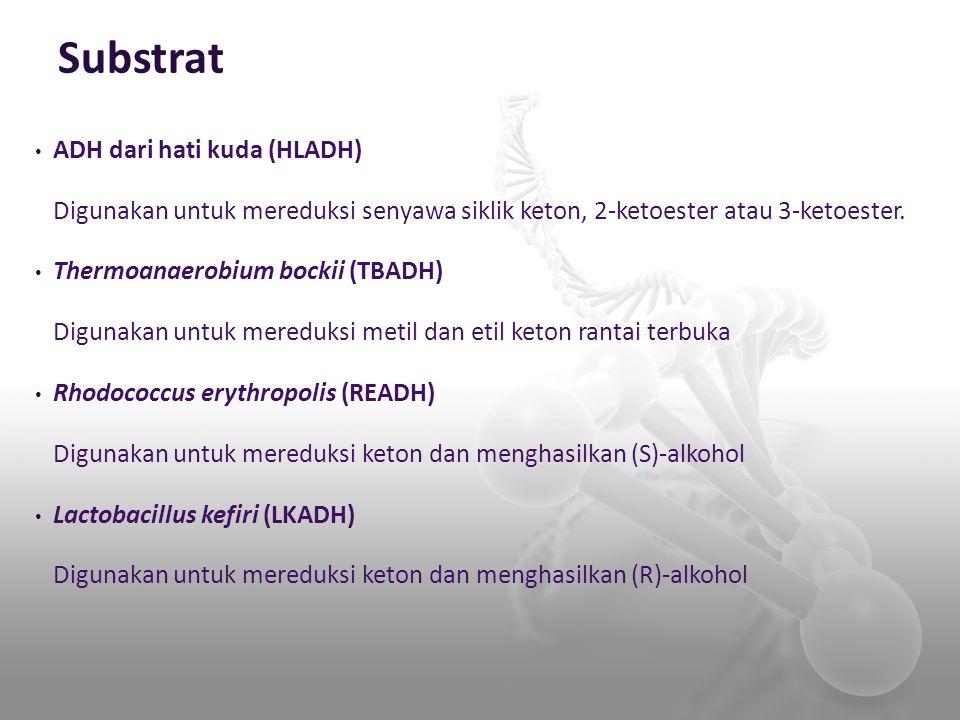 Substrat ADH dari hati kuda (HLADH) Digunakan untuk mereduksi senyawa siklik keton, 2-ketoester atau 3-ketoester. Thermoanaerobium bockii (TBADH) Digu