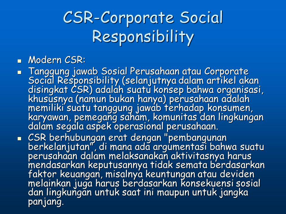 CSR-Corporate Social Responsibility Modern CSR: Modern CSR: Tanggung jawab Sosial Perusahaan atau Corporate Social Responsibility (selanjutnya dalam a