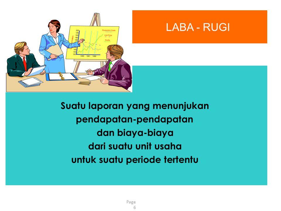 Page 6 LABA - RUGI Suatu laporan yang menunjukan pendapatan-pendapatan dan biaya-biaya dari suatu unit usaha untuk suatu periode tertentu