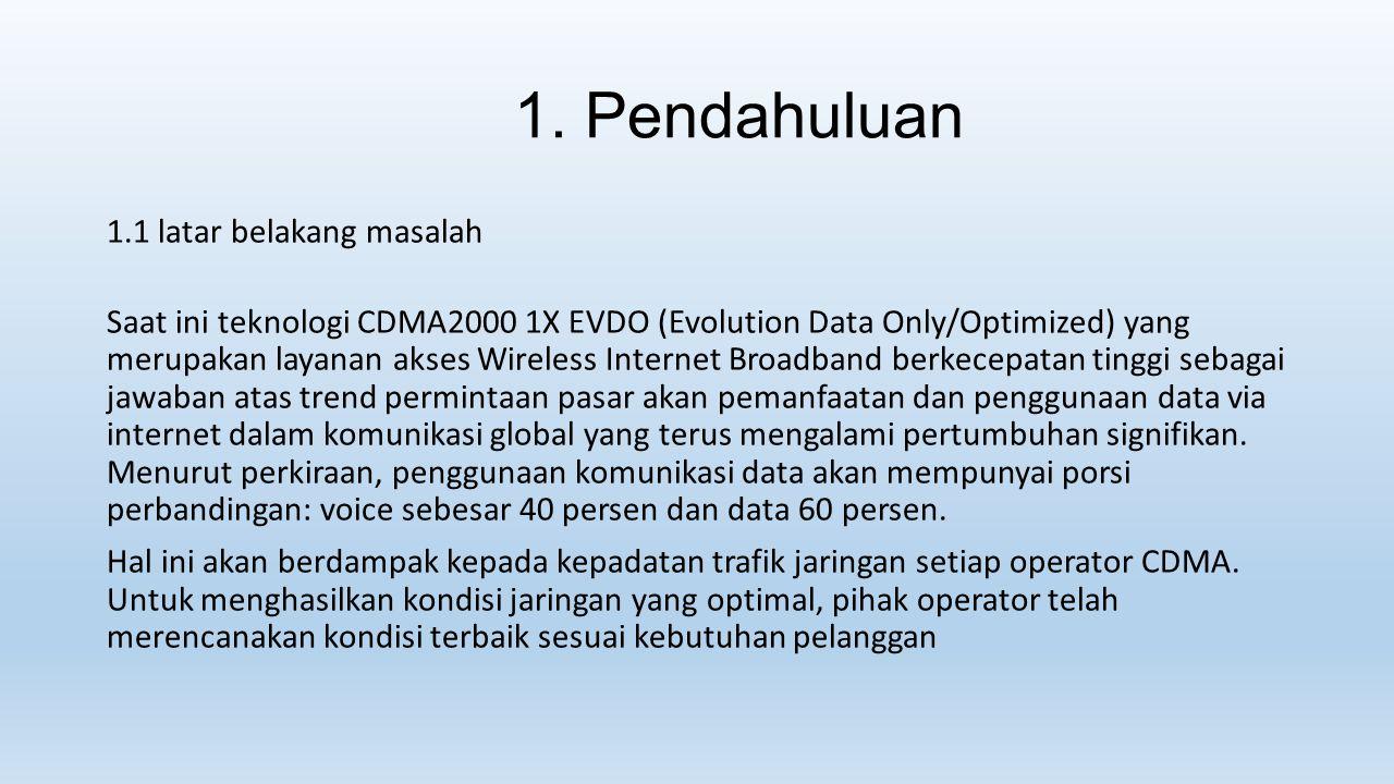 1. Pendahuluan 1.1 latar belakang masalah Saat ini teknologi CDMA2000 1X EVDO (Evolution Data Only/Optimized) yang merupakan layanan akses Wireless In