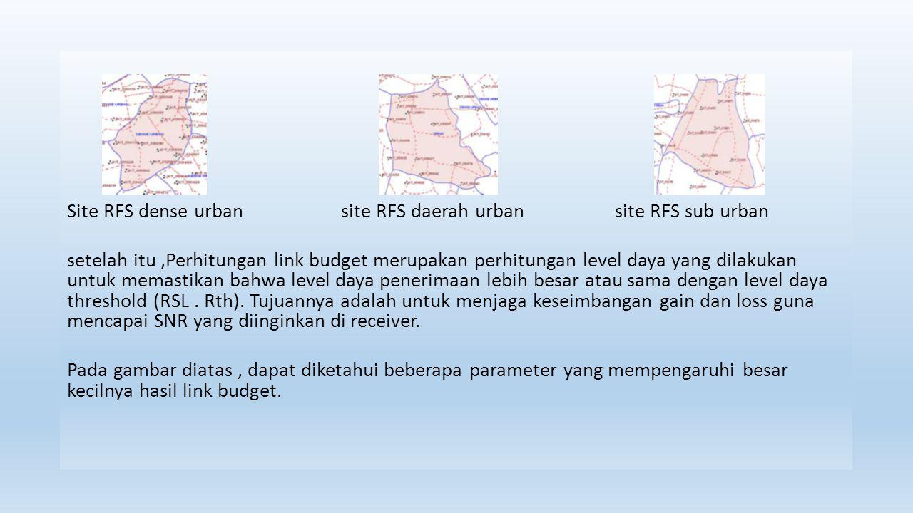 Site RFS dense urbansite RFS daerah urbansite RFS sub urban setelah itu,Perhitungan link budget merupakan perhitungan level daya yang dilakukan untuk memastikan bahwa level daya penerimaan lebih besar atau sama dengan level daya threshold (RSL.