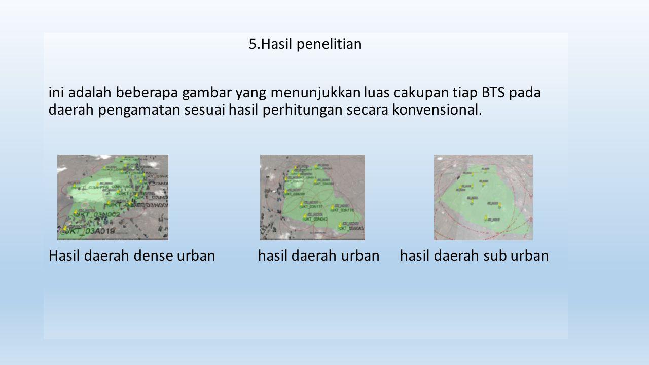 5.Hasil penelitian ini adalah beberapa gambar yang menunjukkan luas cakupan tiap BTS pada daerah pengamatan sesuai hasil perhitungan secara konvension
