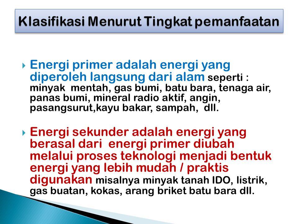  Energi primer adalah energi yang diperoleh langsung dari alam seperti : minyak mentah, gas bumi, batu bara, tenaga air, panas bumi, mineral radio ak