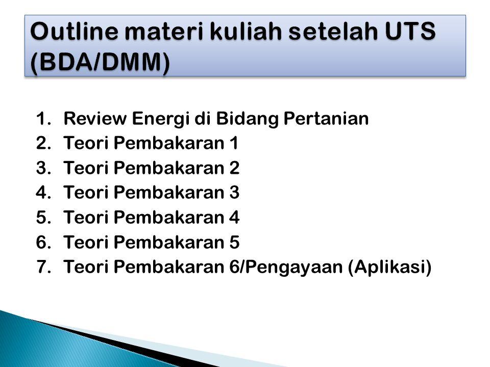 1.Review Energi di Bidang Pertanian 2.Teori Pembakaran 1 3.Teori Pembakaran 2 4.Teori Pembakaran 3 5.Teori Pembakaran 4 6.Teori Pembakaran 5 7.Teori P