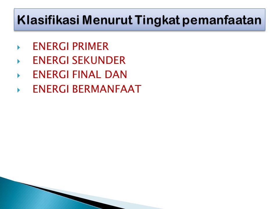  ENERGI PRIMER  ENERGI SEKUNDER  ENERGI FINAL DAN  ENERGI BERMANFAAT