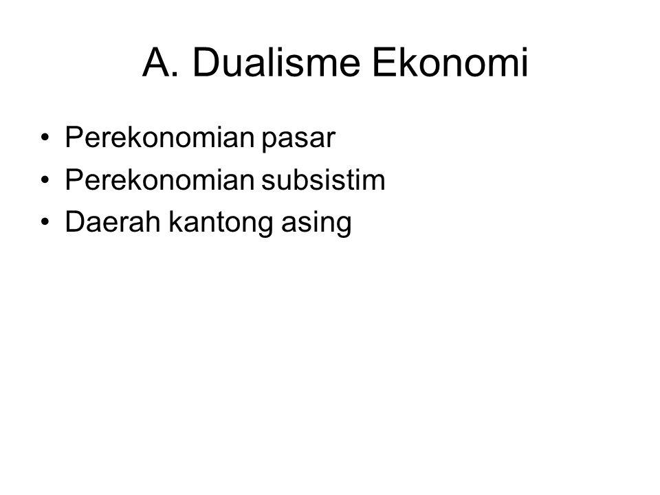 A. Dualisme Ekonomi Perekonomian pasar Perekonomian subsistim Daerah kantong asing
