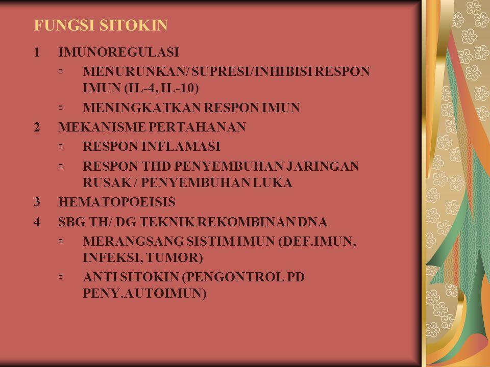 MEKANISME FUNGSI SITOKIN  LANGSUNG 1.PLEITROPI: LEBIH DR 1 EFEK THD BERBAGAI JENIS SEL 2.