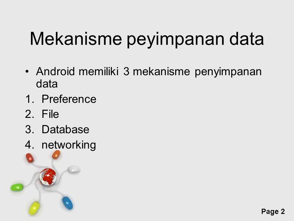 Free Powerpoint Templates Page 2 Mekanisme peyimpanan data Android memiliki 3 mekanisme penyimpanan data 1.Preference 2.File 3.Database 4.networking