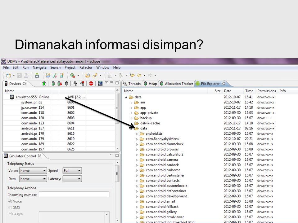Free Powerpoint Templates Page 20 Penyimpanan data di database Di android database disimpan di /data/data/nama_package/databases