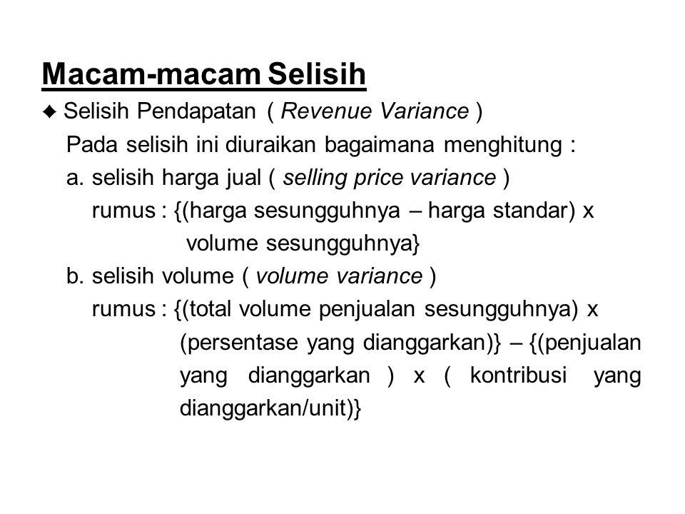 Macam-macam Selisih ♦ Selisih Pendapatan ( Revenue Variance ) Pada selisih ini diuraikan bagaimana menghitung : a.