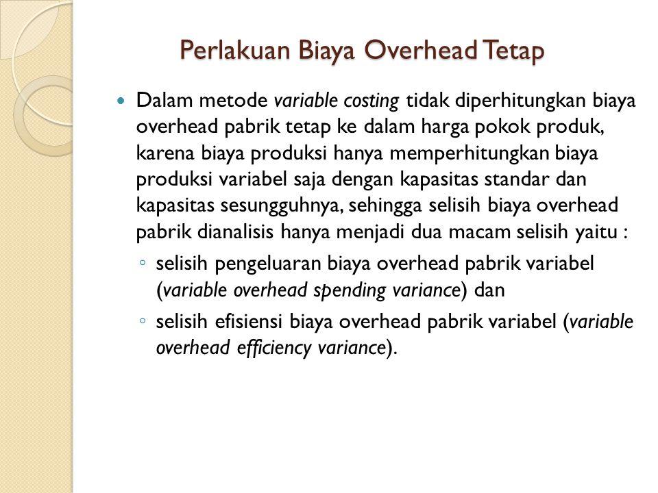 Dalam metode variable costing tidak diperhitungkan biaya overhead pabrik tetap ke dalam harga pokok produk, karena biaya produksi hanya memperhitungkan biaya produksi variabel saja dengan kapasitas standar dan kapasitas sesungguhnya, sehingga selisih biaya overhead pabrik dianalisis hanya menjadi dua macam selisih yaitu : ◦ selisih pengeluaran biaya overhead pabrik variabel (variable overhead spending variance) dan ◦ selisih efisiensi biaya overhead pabrik variabel (variable overhead efficiency variance).