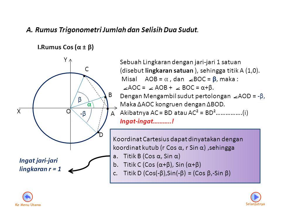 α β -β-β X Y A C B D Sebuah Lingkaran dengan jari-jari 1 satuan (disebut lingkaran satuan ), sehingga titik A (1,0). Misal AOB = α, dan ⦟ BOC = β, mak