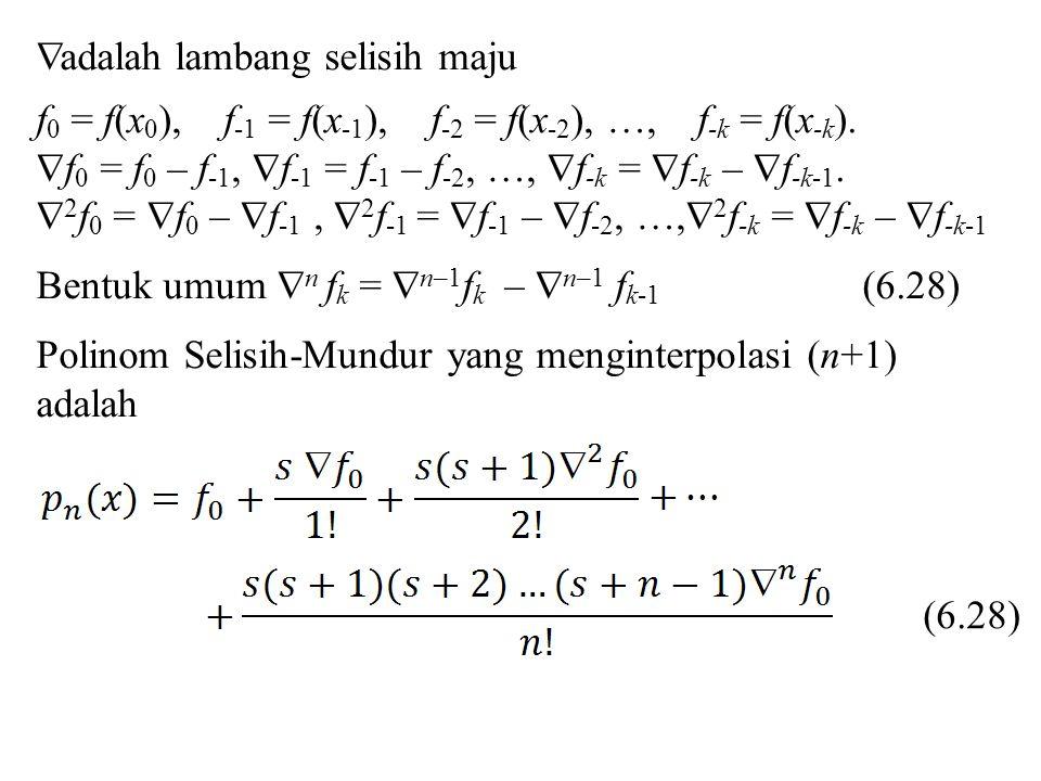  adalah lambang selisih maju f 0 = f(x 0 ), f -1 = f(x -1 ), f -2 = f(x -2 ), …, f -k = f(x -k ).  f 0 = f 0 – f -1,  f -1 = f -1 – f -2, …,  f -k