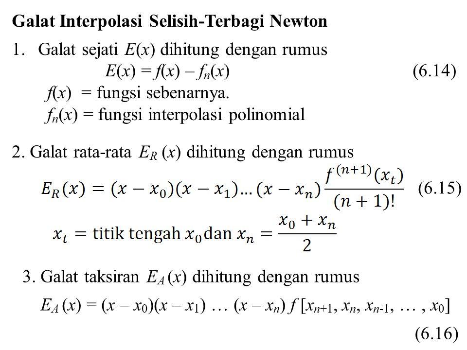 Galat Interpolasi Selisih-Terbagi Newton 1.Galat sejati E(x) dihitung dengan rumus E(x) = f(x) – f n (x) (6.14) f(x) = fungsi sebenarnya. f n (x) = fu