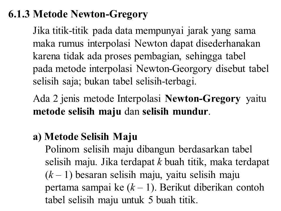 6.1.3 Metode Newton-Gregory Jika titik-titik pada data mempunyai jarak yang sama maka rumus interpolasi Newton dapat disederhanakan karena tidak ada proses pembagian, sehingga tabel pada metode interpolasi Newton-Georgory disebut tabel selisih saja; bukan tabel selisih-terbagi.