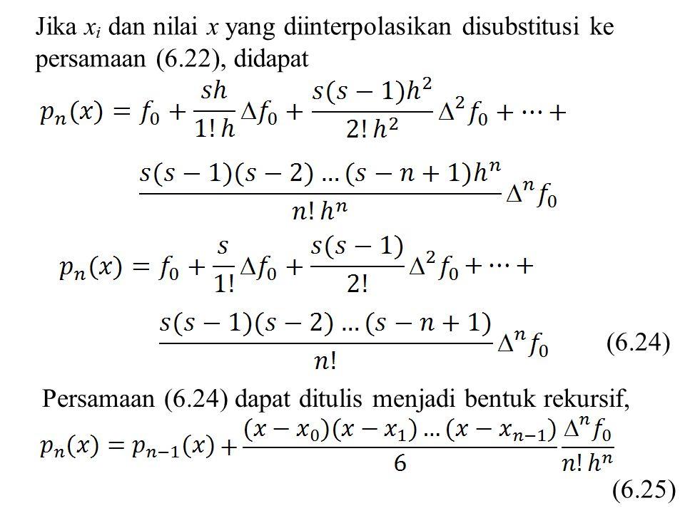 Jika x i dan nilai x yang diinterpolasikan disubstitusi ke persamaan (6.22), didapat (6.24) Persamaan (6.24) dapat ditulis menjadi bentuk rekursif, (6