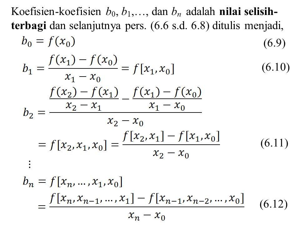 Koefisien-koefisien b 0, b 1,…, dan b n adalah nilai selisih- terbagi dan selanjutnya pers. (6.6 s.d. 6.8) ditulis menjadi, (6.9) (6.10) (6.11) (6.12)
