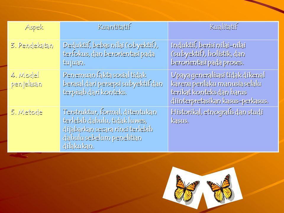 Perbedaan penelitian kualitatif dan penelitian kuantitatifAspekKuantitatifKualitatif 1.Maksud Membuat deskripsi obyektif tentang fenomena terbatas dan