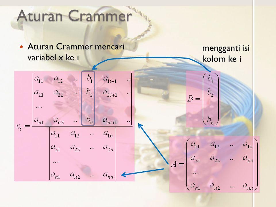 Aturan Crammer Aturan Crammer mencari variabel x ke i mengganti isi kolom ke i