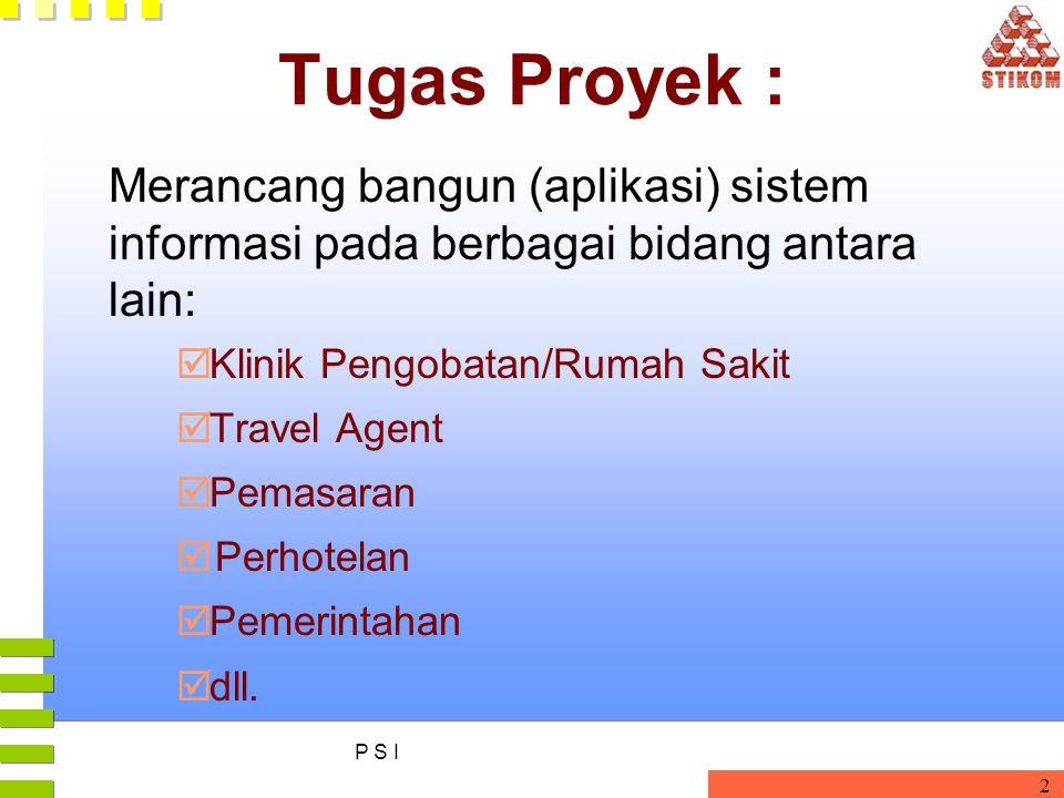 P S I 2 Tugas Proyek : Merancang bangun (aplikasi) sistem informasi pada berbagai bidang antara lain:  Klinik Pengobatan/Rumah Sakit  Travel Agent 